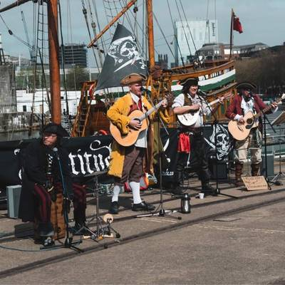 Piratitude Gallery Image. -  Our first busk of 2021. Huzzah! Piratitude on Bristol's harbourside