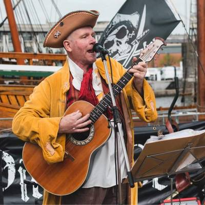 Piratitude Gallery Image. -  Pirate band busking by the Matthew April 2021