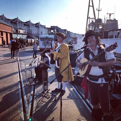 Piratitude Gallery Image. -  Pirate Band busking on Bristol's Harbourside Saturday evening 24th April 2021