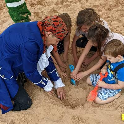 Piratitude Gallery Image. -  Searching for buried treasure with the kiddies