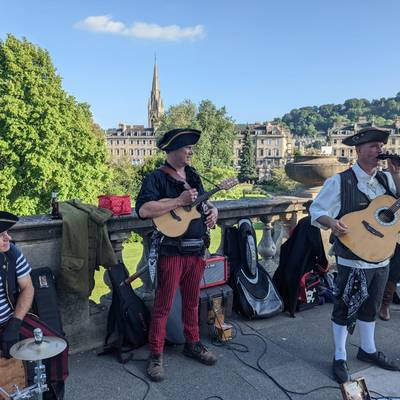 Piratitude Gallery Image. -  Pirate band busking in Bath, Summer 2021
