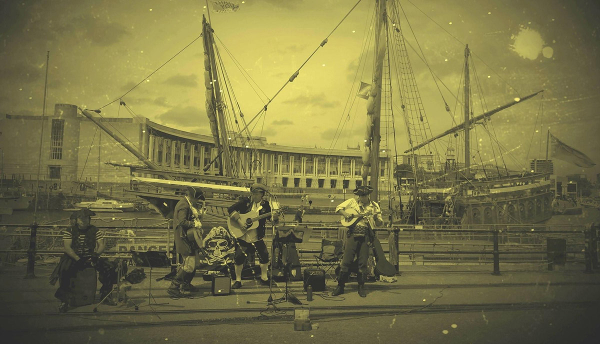 Busking in front of The Matthew on Bristol's Harbourside